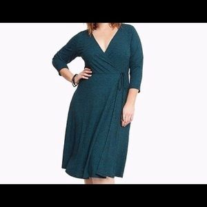 TORRID- Dark green faux wrap dress